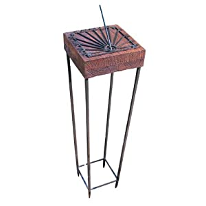 Rome 2182 Mango Wood Horizontal Sundial with Wrought Iron Steel Base, 39-Inch Overall Height by 10-Inch Diameter (Discontinued by Manufacturer)