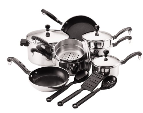 => Farberware Classic 15-Piece Stainless-Steel Cookware ...