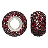 Sterling Silver Large Hole Garnet Crystal Pave Bead: 12x8mm with 4.7mm Hole (ea) Fits Pandora, Chamilia, Biagi, Troll, PerlAmore, Caprice and other interchangeable bead systems