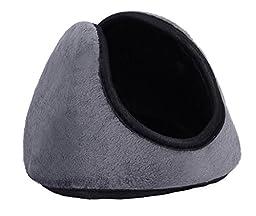 Men Women Light Gray Solid Fleece Winter Earmuffs Ear Warmers Ear Covers