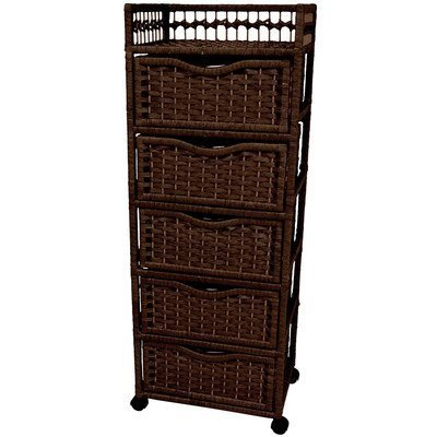 Oriental Furniture Excellent Quality Rattan Look Extra Tall Nightstand End Table, 46-Inch Natural Fiber Chest of Drawers on Wheels, Mocha by Oriental Furniture