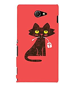 EPICCASE Cat With Mouse Mobile Back Case Cover For Sony Xperia M2 (Designer Case)