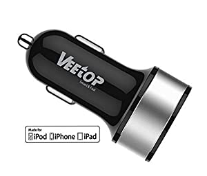 Veetop® Dual USB High Speed (MFI Certified) Car Charger UPGRADE 3.4Amp 15.5W - 2.4A & 1.0A, Smart charging for all iPhones (5S, 5C, 5, 4S, 3GS, 3G),iPad Air, iPad Mini, Apple iOS7, iPod,iPod Touch, Samsung Galaxy S5/S4/S3/Note 2/3, Nexus, Sony, Nokia, HTC, LG, Motorora,Huawei, Lenovo, ZTE, GPS,Smartphones & Tablets (Black/Silver)