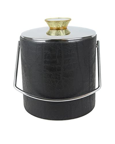 Aviva Stanoff Leather Reflective Ice Bucket, Black/Gold/Silver