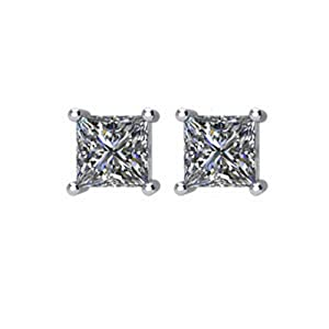 IceCarats Designer Jewelry 14K White Gold Diamond Earring.