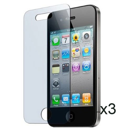 Skque Transparente Displayschutzfolie 3er Pack für iPhone 4. Generation + 1 x Reinigungstuch