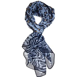 LibbySue-Floral & Graphic #2 Print Silk Blend, Oblong Scarf (Blue Animal Print)