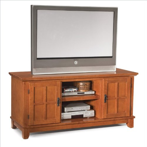 Home Style 5180-12 Arts and Crafts Entertainment Console, Cottage Oak Finish