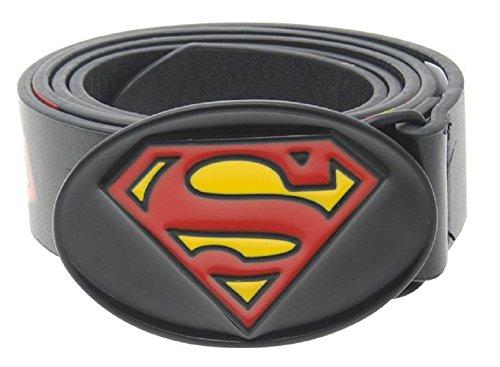DC Comics Superman cintura in pelle fibbia in metallo Supereroe Black Large