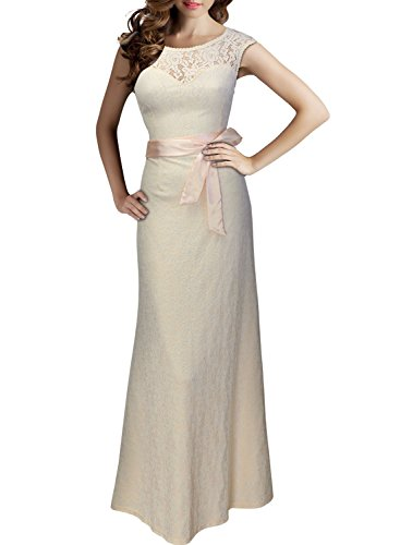 Miusol® Women's Elegant Sleeveless Halter Black Lace Bridesmaid Maxi Dress (X-Large, Beige)