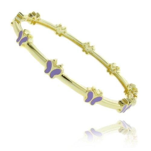 Lily Nily 18k Gold Overlay Lavender Enamel Butterfly Design Children's Bangle