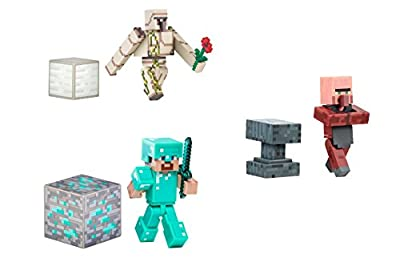 Minecraft Overworld Series 2 Action Figure Bundle - Diamond Steve Iron Golem And Blacksmith Villager by Minecraft