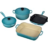 6-Pc. Signature Enameled Cast Iron Cooking Set (Caribbean)