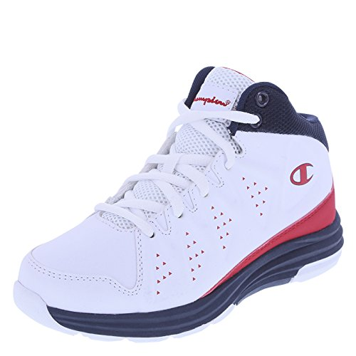 Champion Boys' White Navy Red Boys' Varsity Basketball Shoe 2.5 Regular (Champion Kids Shoes compare prices)
