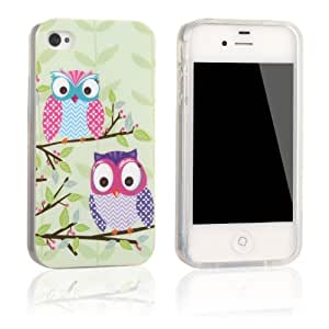 tinxi® Apple iphone 4 4G 4s case cover soft TPU silicone gel protective back etui shell,two owls