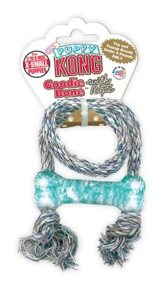 THE KONG COMPANY Puppy Goodie Bone With Rope Extra-Small