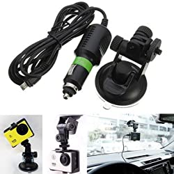 Suction Cup Windshield Mount Holder with Car Charger For GoPro Hero 3 3 Plus 4 Session XiaoMi Yi SJ4000 SJ5000 SJ6000 SJcam -