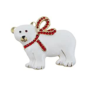 Polar Bear Christmas Pin Pendant Jeweled