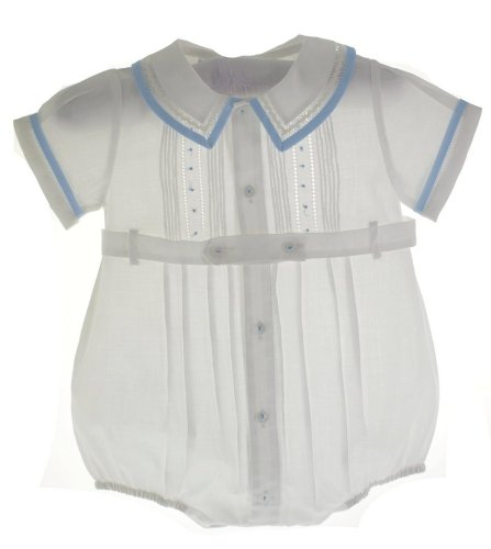 Baby Boys White Belted Bubble Outfit With Blue Trim 3M front-952581