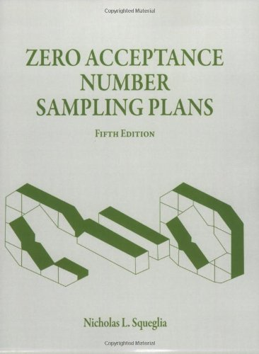 Zero acceptance number sampling plans fifth edition