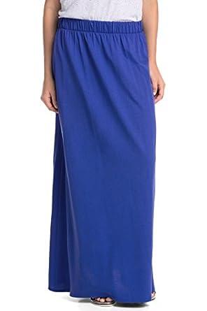 edc by ESPRIT Damen A-Linie Rock maxi skirt, Einfarbig, Gr. 42 (Herstellergröße: XL), Blau (SAPPHIRE BLUE 487)
