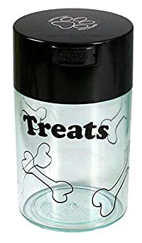 Pawvac 6 Ounce Vacuum Sealed Pet Food Storage Container; Black Cap & Clear Body/Black Treats