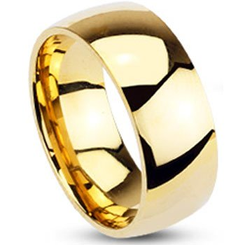 Size 12-Spikes Mens Gold IP Stainless Steel 8mm Traditional Wedding Band Ring