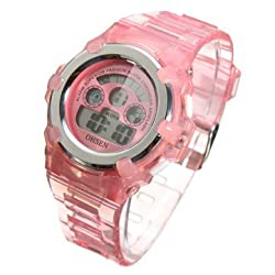 Kids Lovely Students Girl Colourful Silicone Digital Sports Outdoor Wrist Watch Alarm Development Toy Gift - Pink