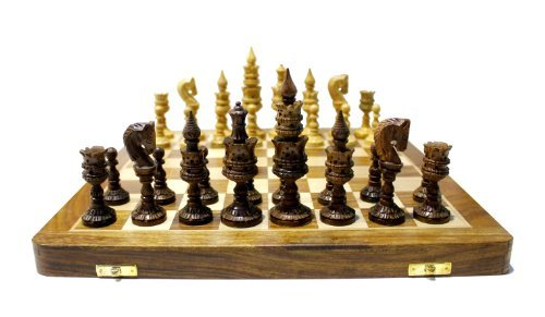Exquisitely Hand Carved Detailed Chess Pieces & Wooden Board Chess Set 14