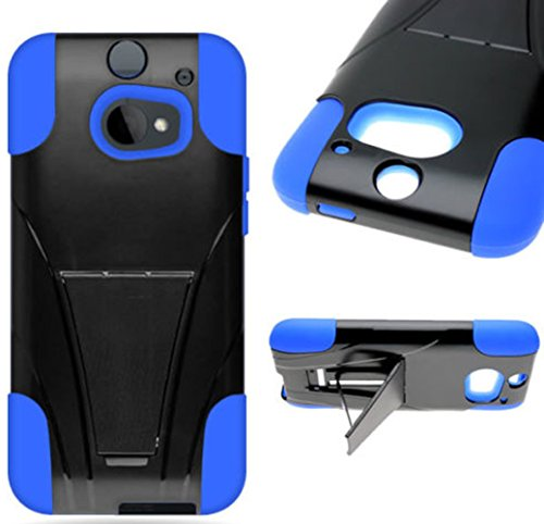 Mylife Licorice Black + Dodger Blue {Tough Design} Two Piece Neo Hybrid (Shockproof Kickstand) Case For The All-New Htc One M8 Android Smartphone - Aka, 2Nd Gen Htc One (External Hard Fit Armor With Built In Kick Stand + Internal Soft Silicone Rubberized