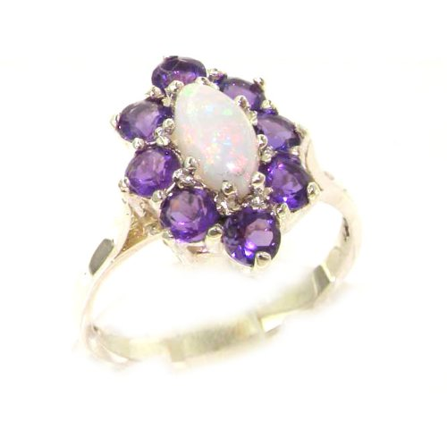 Luxury Ladies Solid White Gold Natural Opal & Amethyst Marquise Cluster Ring - Size 9.25 - Finger Sizes 5 to 12 Available