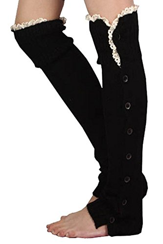 Dopeme Womens Knit Crochet Knee High Button Down Crochet Lace Boot Socks