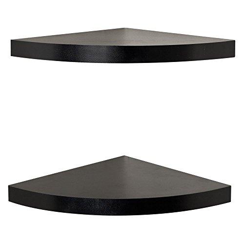 Danya b black laminate large radial corner wall shelf set of 2 - Danya b corner shelf ...