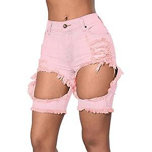 TomYork Destroyed Cutoff Bermuda Shorts(Pink,L)