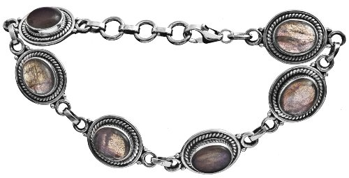 Sterling Bracelet with Gems - Sterling Silver - Color Labradorite
