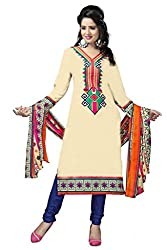 Vedant Vastram Woman's Poly Cotton Printed Unstitched Dress Material (Off White & Blue Colour)