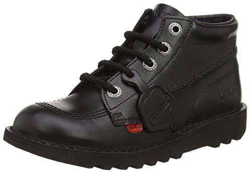 Kickers Kick Hi Core Black Leather Unisex Lace Up School Boots-42