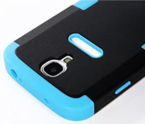 "myLife Sky Blue - Black Matte Robot Design (3 Piece Hybrid) Hard and Soft Case for the Samsung Galaxy S4 ""Fits Models: I9500, I9505, SPH-L720, Galaxy S IV, SGH-I337, SCH-I545, SGH-M919, SCH-R970 and Galaxy S4 LTE-A Touch Phone"" (Fitted Front and Back Solid Cover Case + Internal Silicone Gel Rubberized Tough Armor Skin)"
