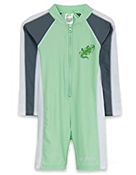 SunBusters Boys L/S Sunsuit(UPF 50+), Frost/Ice, 6/12 mos