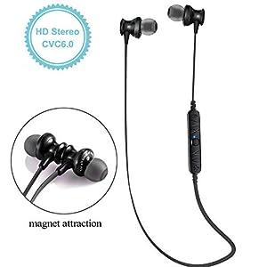 [CVC 6.0] GRDE® Wireless Kabellos Bluetooth 4,0 Kopfhörer Stereo Ohrhörer, Anti-Schweiß Sports Headsets In-Ear Kopfhörer mit Sprachansagen Funktion