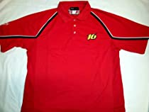 New! Red NASCAR National Guard Roush Racing #16 Mesh Panel Polo Shirt Medium (M)