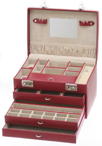 Davidt's Euclide Medium Size Jewellery Box with Three Drawers in Red