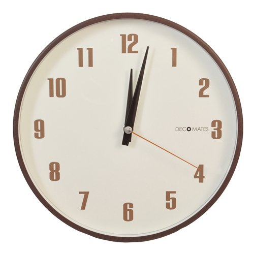 DecoMates Non-Ticking Silent Wall Clock - Retro (Brown)