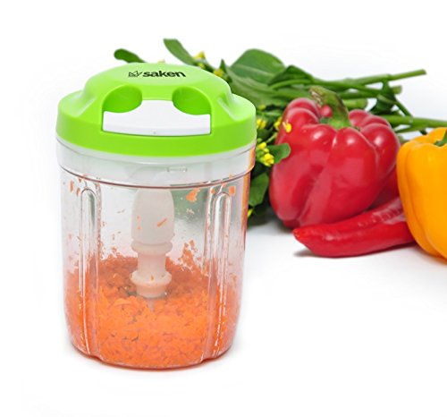Saken Manual Food Chopper - Compact, Hand-Held, Powerful Pull Cord Handheld Vegetable Slicer With Three Stainless Steel Blades & Locking Lid (Ez Pull Can Crusher compare prices)