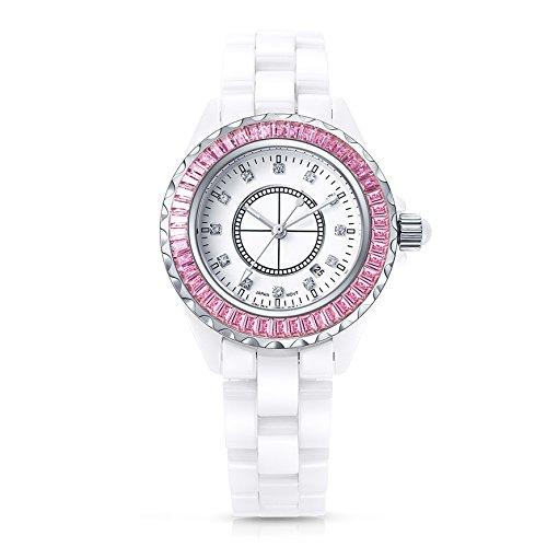 Time100 Orologio da Polso Donna, alla Moda, Movimento al Quarzo Giapponese, Quadrante Ceramica Bianca e Rotonda, Lancetta Fluorescente, Pietre Incassate (Rosa)#W50018L.02A