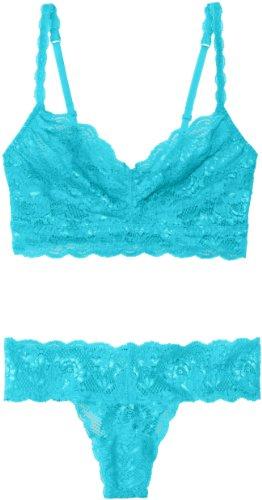 Cosabella Women's Never Say Never Sweetie Soft Bra & Cutie Thong Set, Blu Mediterraneo, Bra: Medium/Thong: One Size