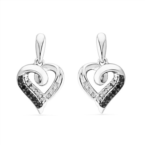Platinum Plated Sterling Silver Black And White Round Diamond Fashion Earring (1/10 cttw)