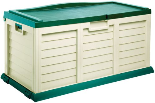 Plastic 390L Beige Garden Storage / Cushion Box / Shed with sit on lid