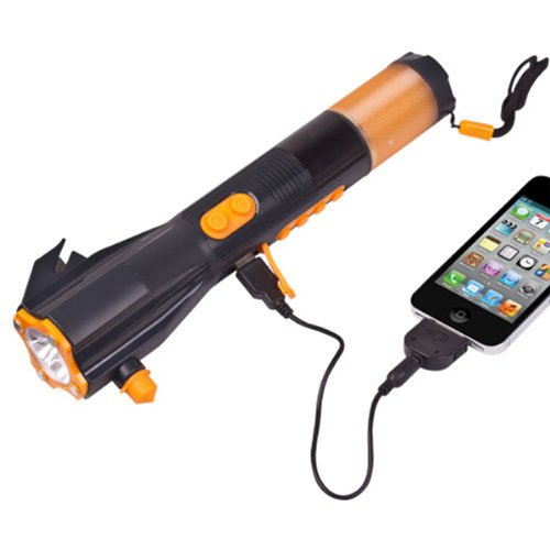 Image® Outdoor Waterproof 9 In 1 Hand-Crank Powered Dynamo Super Bright Led Flashlight W/ Radio And Phone Charger & Emergency Hammer & Siren, Magnet front-997081