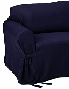Amazon Jacquard Fabric Solid NAVY BLUE Stripe Couch